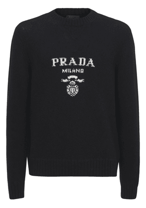 Logo Embroidered Wool Blend Knit Sweater