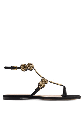 Gianvito Rossi - Babylon Studded Suede Sandals - Womens - Black Gold