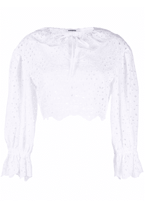 Vivetta cropped broderie anglaise top - White