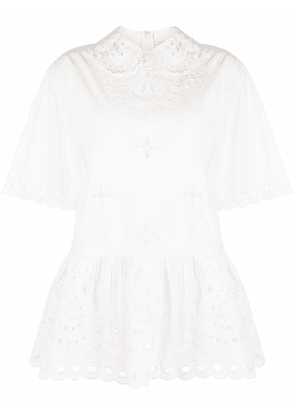 RED Valentino broderie anglaise peplum blouse - White