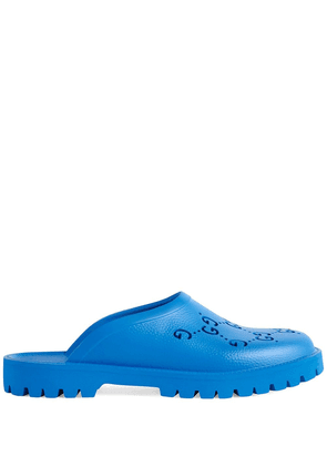 Gucci GG perforated slip-on sandals - Blue