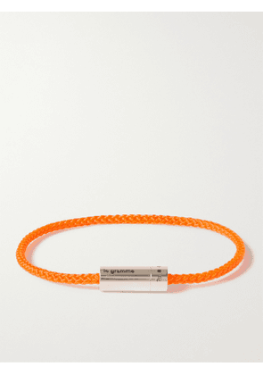 LE GRAMME - 5g Braided Cord and Sterling Silver Bracelet - Men - Orange - 18