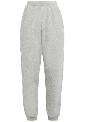 Adidas Originals Mélange French Cotton-blend Terry Track Pants Woman Gray Size 34