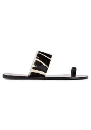 Atp Atelier Astrid Leather And Zebra-print Calf Hair Sandals Woman Black Size 36