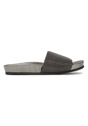 Brunello Cucinelli Bead-embellished Croc-effect Leather Slides Woman Silver Size 39