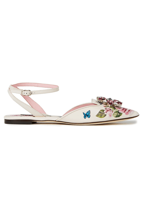 Dolce & Gabbana Crystal-embellished Floral-print Leather Point-toe Flats Woman White Size 35