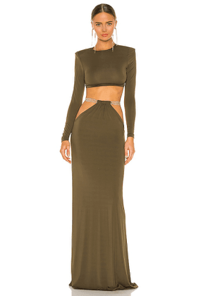 Bronx and Banco Cleopatra Khaki Two Piece in Olive. Size S, M.