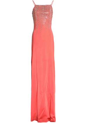 Just Cavalli Embellished Crepe Gown Woman Coral Size 42