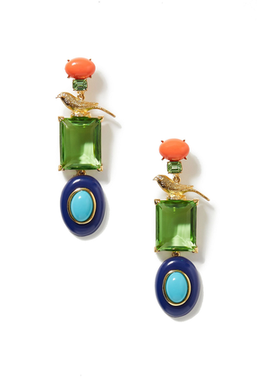 Kenneth Jay Lane + Brandon Maxwell Gold-plated Multi-stone Earrings Woman Gold Size --