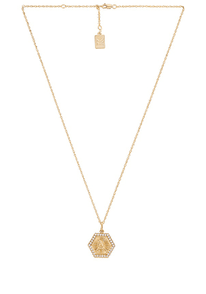 MIRANDA FRYE Hexagon Charm & Eleanor Chain Necklace in Metallic Gold. Size G, L, N, O, R.