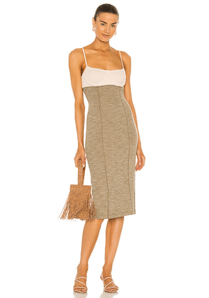 Song of Style Gillian Midi Dress in Olive. Size L.