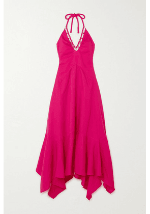Cult Gaia - Constance Embellished Tencel And Linen-blend Haltnerneck Dress - Pink