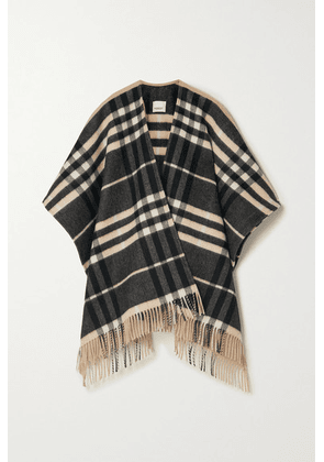 Burberry - Fringed Checked Cashmere And Merino Wool-blend Cape - Sand