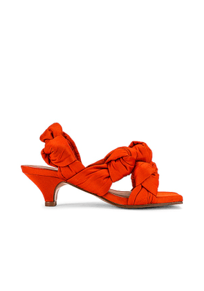 Ganni Knotted Slingback Heel in Brick. Size 37, 38, 39, 40.