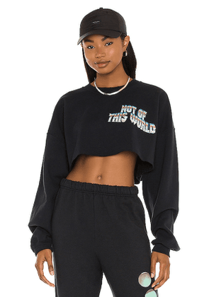 Boys Lie Not of This World Cropped Sweatshirt in Navy.