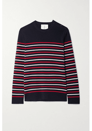 TRE by Natalie Ratabesi - The Marie Button-detailed Striped Cashmere Sweater - Navy