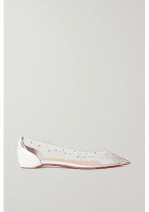 Christian Louboutin - Follies Crystal-embellished Pvc And Leather Point-toe Flats - White