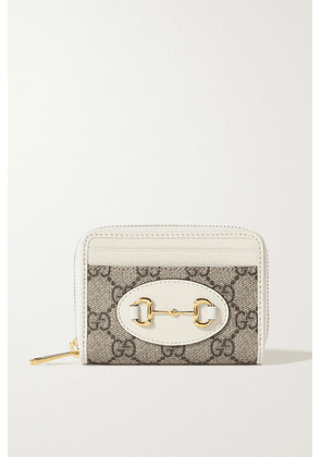 Gucci - 1955 Horsebit Small Leather-trimmed Printed Coated-canvas Cardholder - White