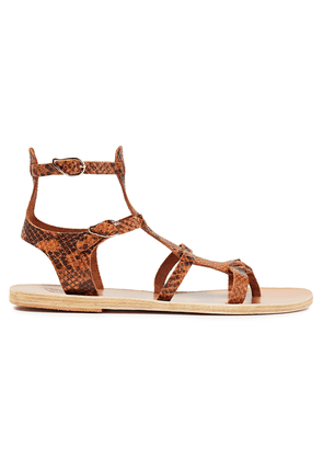 Ancient Greek Sandals Stephanie Snake-effect Leather Sandals Woman Animal print Size 36
