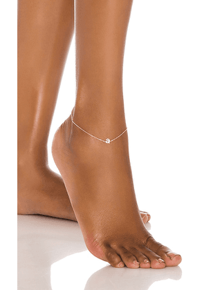 Adina's Jewels Tiny Lowercase Pave Initial Anklet in Metallic Gold. Size B.