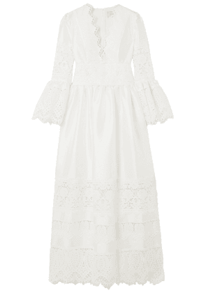 Erdem Irmina Lace-trimmed Satin Gown Woman Ivory Size 10