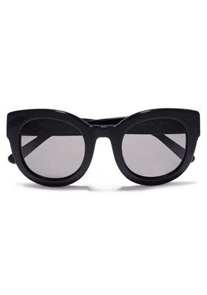 Ganni Round-frame Acetate Sunglasses Woman Black Size --
