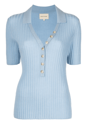 Loulou Studio ribbed-knit polo shirt - Blue