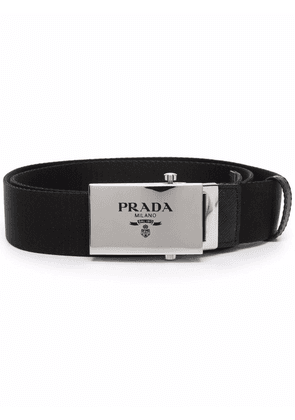 Prada logo plaque woven belt - Black