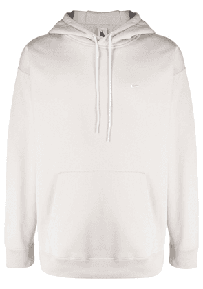 Nike embroidered-swoosh pullover hoodie - Neutrals