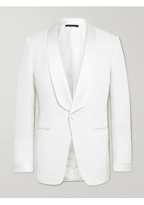 TOM FORD - O'Connor Slim-Fit Satin-Trimmed Wool and Mohair-Blend Tuxedo Jacket - Men - White - IT 50