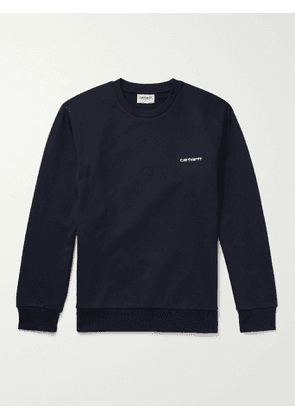 CARHARTT WIP - Logo-Embroidered Loopback Cotton-Blend Jersey Sweatshirt - Men - Blue - S