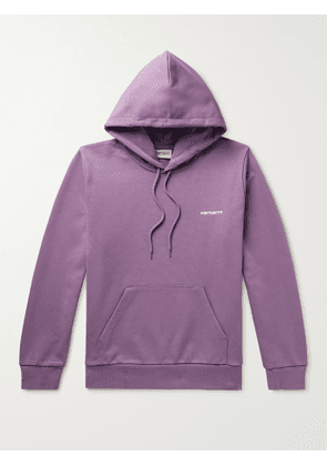 CARHARTT WIP - Logo-Embroidered Loopback Cotton-Blend Jersey Hoodie - Men - Purple - M