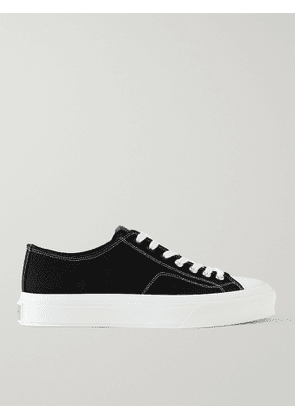 GIVENCHY - City Leather-Trimmed Canvas Sneakers - Men - Black - EU 41