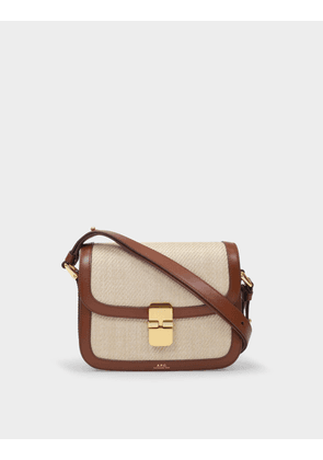 A.P.C. Grace Small Bag in Hazelnut Canvas and Smooth Leather