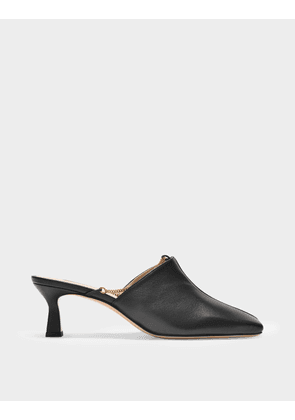 Wandler Isa Mules Chain in Black Leather