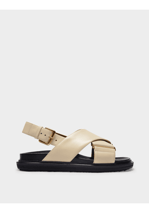 Marni Fussbett Sandals in Silk White Leather