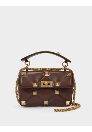 Valentino Garavani Roman Stud Medium Shoulder Bag in Brown Leather