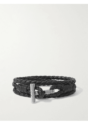 TOM FORD - Braided Leather and Palladium-Plated Wrap Bracelet - Men - Black - M