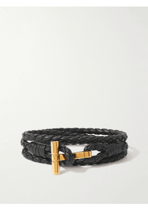 TOM FORD - Braided Leather and Gold-Tone Wrap Bracelet - Men - Black - M