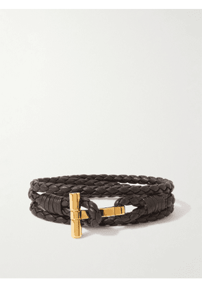 TOM FORD - Braided Leather and Gold-Tone Wrap Bracelet - Men - Brown - M