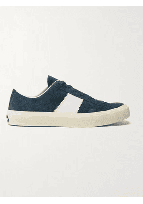 TOM FORD - Cambridge Leather-Trimmed Suede Sneakers - Men - Blue - UK 7