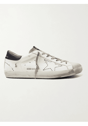 GOLDEN GOOSE - Superstar Distressed Leather and Suede Sneakers - Men - White - EU 39