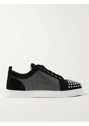 CHRISTIAN LOUBOUTIN - Louis Junior Spikes Orlato Suede and Canvas Sneakers - Men - Black - 41