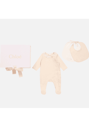 Chloe Baby Girls' Pyjamas and 2 Bibs Set - Salmon - 0-3 months