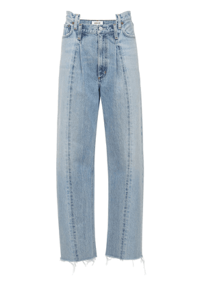 Pieced Angled Straight Cotton Jeans