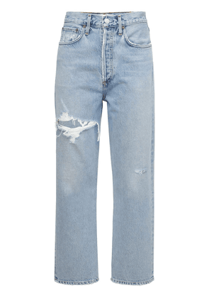 90's Crop Distressed Straight Jeans