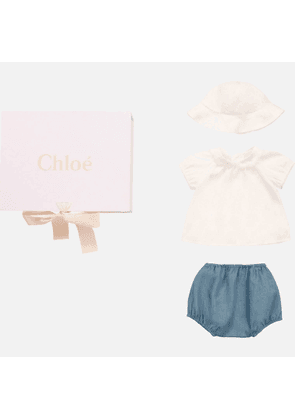 Chloe Baby Girls' Textile Bloomers, Top & Hat Set - Denim Blue - 0-3 months