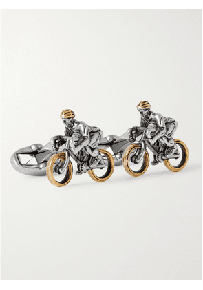 PAUL SMITH - Cycling Silver-Tone, Gold-Tone and Enamel Cufflinks - Men - Silver