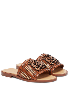 Anagram woven leather slides