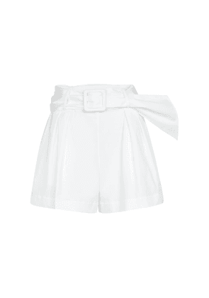 Pleated stretch-cotton shorts